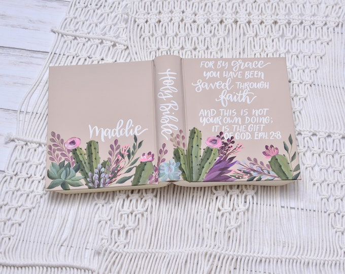 Hand Painted Bible // Specialized Floral Design // Hand Painted Cactus and Succulents // Personalized Keepsake