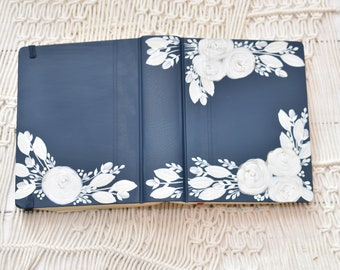 Hand Painted Bible, White Roses, Personalized Gift, Personal Keepsake