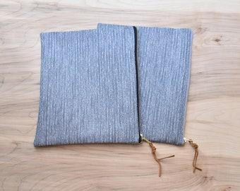 XL Bible Bag, Gray Tweed, Zipper Pouch Bag