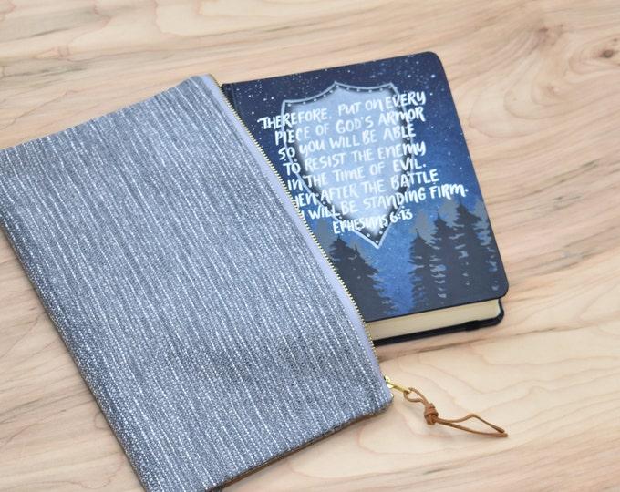 Hand Painted Bible // Landscape Bible // Pine Trees // Ephesians 6:13 // Personalized Keepsake