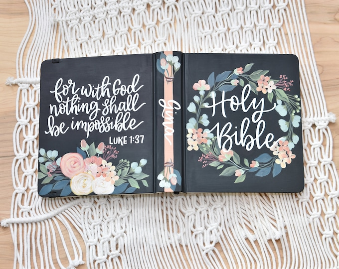 Hand Painted Bible // Specialized Floral Design // Roses and Hydrangeas // Custom Bible // Personal Keepsake