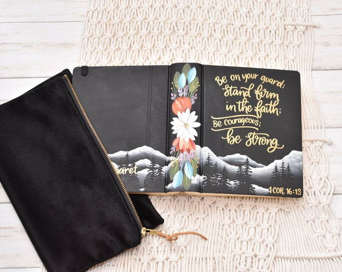 Hand Painted Bible, Specialized Floral Mountain Landscape, Personalized Keepsake