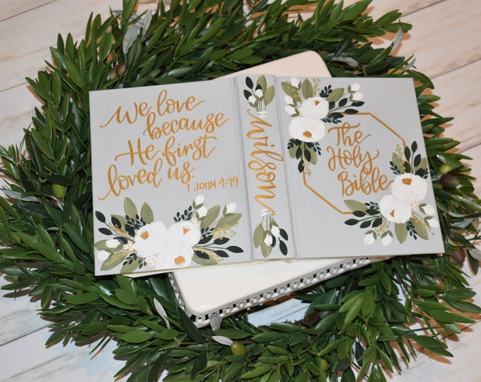 Hand Painted Bible // Family Bible // Wedding Guest Book Alternative // Holy Bible // Personalized Keepsake