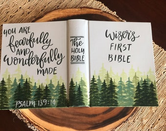 Hand Painted Bible // Baby Bible // Pine Trees // Landscape Bible // Personalized Keepsake