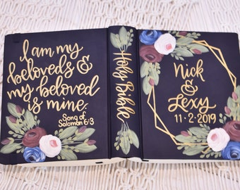 Hand Painted Bible //Quick Ship Option // Wedding Guestbook Alternative // Song of Sol 6:3 // Personalized Keepsake