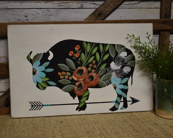 Floral Cow | Custom Sign | Rustic Farmhouse Decor | Cottage Farmhouse Florals | Hand Painted