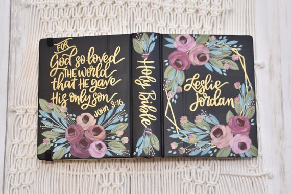 Hand Painted Bible, Specialized Floral Design,  Wedding Bible, Custom Personal Keepsake