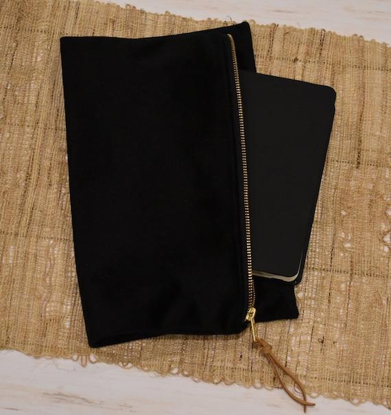 Bible Bag, Black Velvet, Clutch Handbag, Zipper Pouch Bag