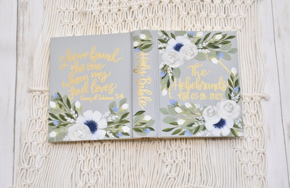 Hand Painted Bible, Specialized Floral Design, Personal Keepsake