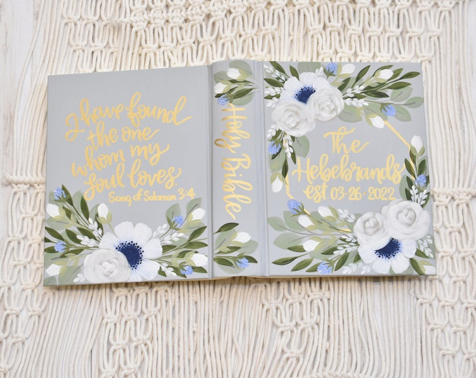 Featured listing image: Hand Painted Bible, Specialized Floral Design, Personal Keepsake