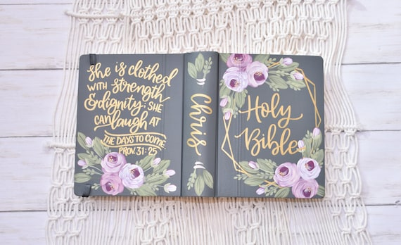 Hand Painted Bible, Personal Bible, Baptism Bible, Graduation Bible, Personalized Keepsake