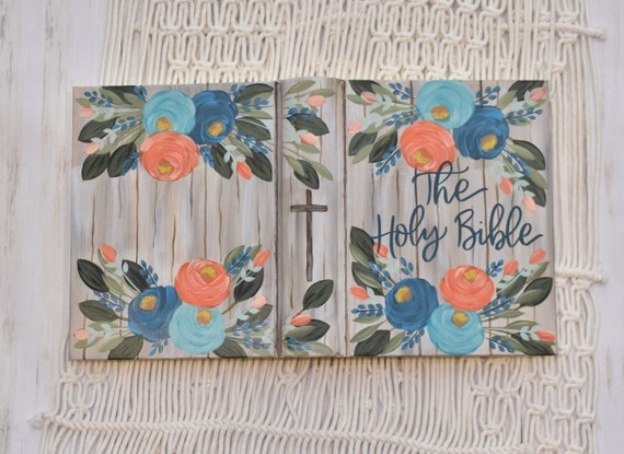 Hand Painted Bible, Quick Ship, Washed wood design, Personal Bible, Personal Keepsake