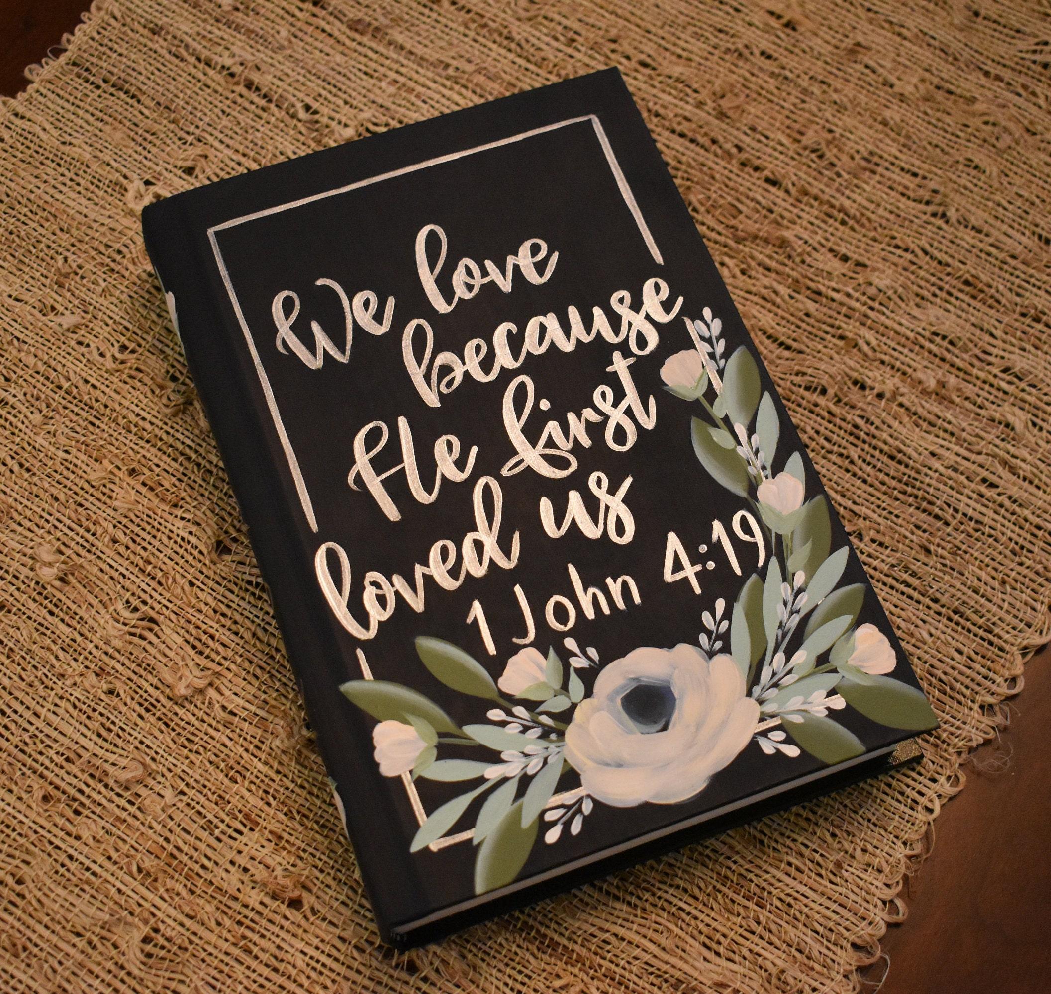 Hand Painted Bible Wedding Gift Guest Book Wedding Decor