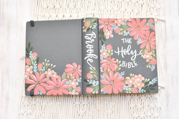 Hand Painted Bible, Specialized Floral Design, Pink Daisies, Personal Custom Bible, Personalized Keepsake