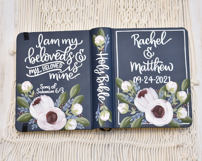 Featured listing image: Hand Painted Bible, Peony and Rosette, Wedding Bible, Customized Personal Keepsake