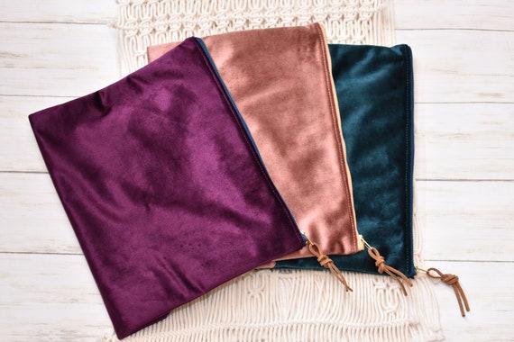 Bible Bag, Velvet and Tweed, Clutch Handbag, Zipper Pouch Bag