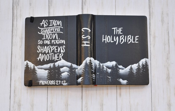 Hand Painted Bible, Black Mountain Landscape, Personalize with name and Customize verse, Keepsake Bible