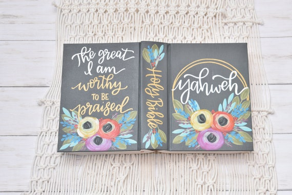 Hand Painted Bible, Specialized Floral,  Personalized Keepsake