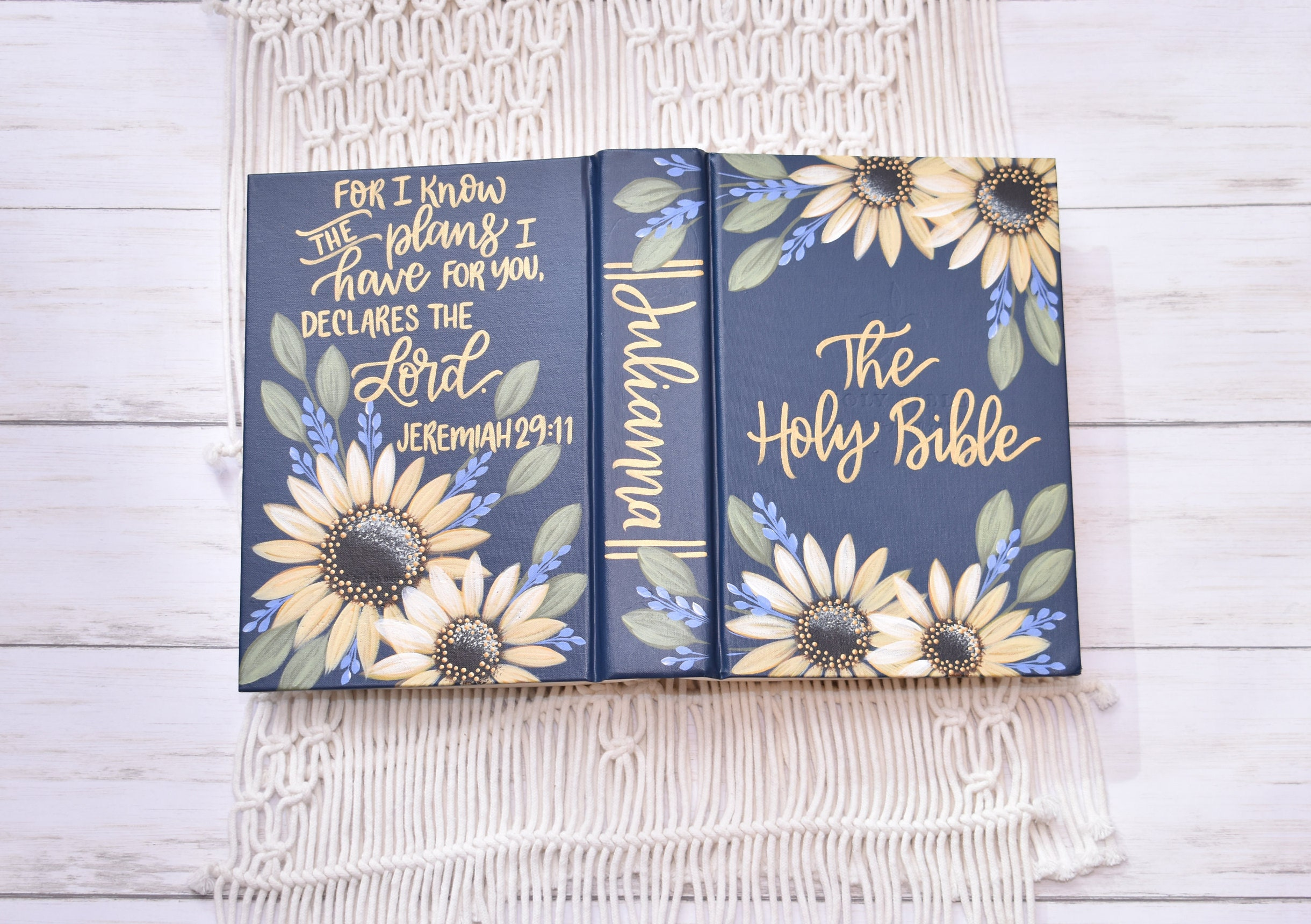 Hand Painted Bible  Personal Bible  Personalized Keepsake