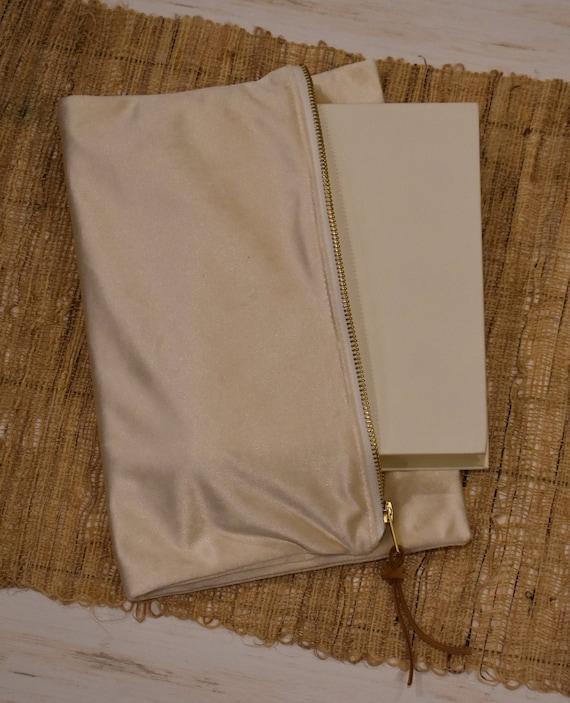 Bible Bag, Ivory Velvet, Clutch Handbag, Zipper Pouch Bag