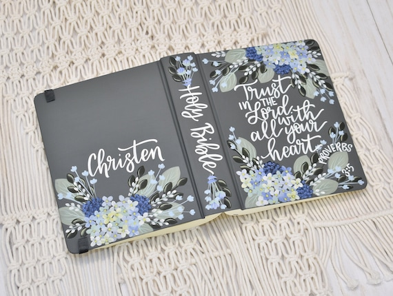 Hand Painted Bible, Specialized Floral Design, hydrangea Florals, Personal Bible Keepsake