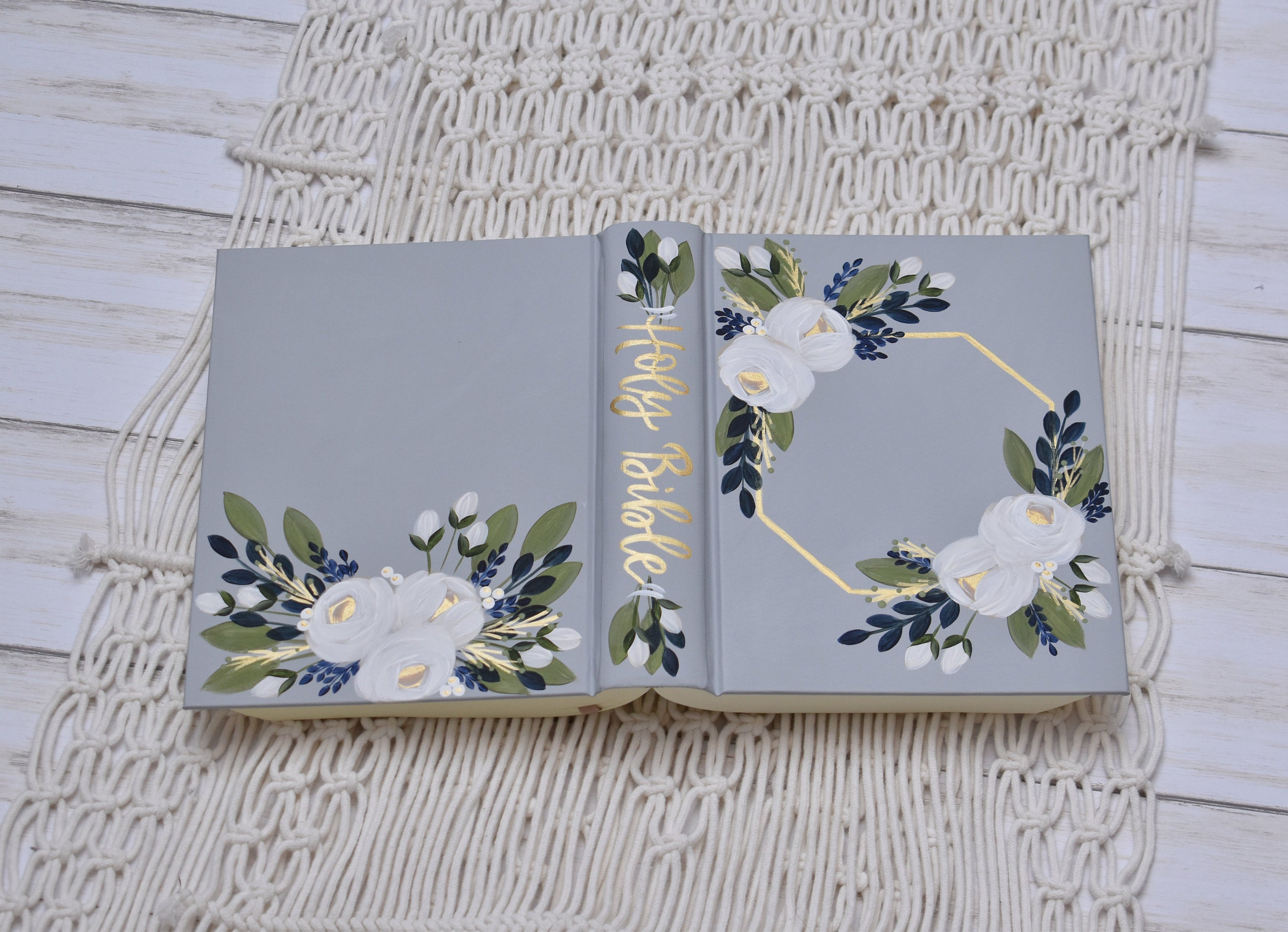 Hand Painted Bible // Family Bible // Wedding Guest Book