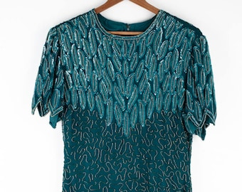 Beaded Turquoise Vintage Sequin Dress