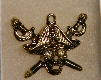 Silver Pirate/Skull & Crossbones with Rhinestone Eyes Pendant