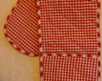 American gingham red Potholder