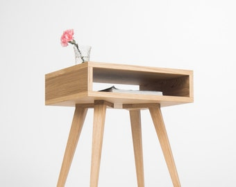 Night stand, bed side table, end table with open shelf, mid century modern, made of oak wood