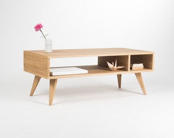 Modern coffee table, media console, entertainment center, made of oak wood