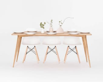 Dining table made of solid oak wood, mid century modern