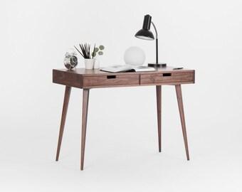 Walnut dressing table, small desk, mid century modern
