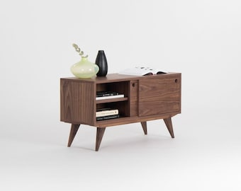 Media cabinet made of walnut wood, record player stand, TV stand, media console, midcentury modern