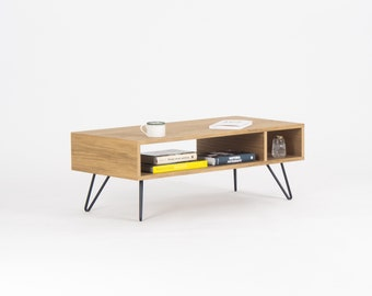 Modern coffee table, media console, entertainment center, made of oak wood, hairping legs Ready to Ship