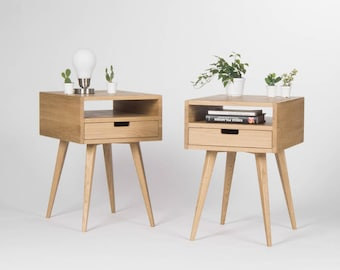 Pair of Mid century modern nightstand, bedside table, end table with solid oak drawer and open shelf, oak wood