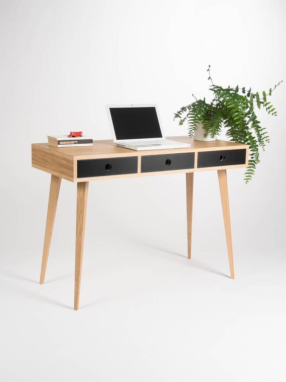Ready To Ship Small Modern Desk Bureau Dressing Table Oak Etsy