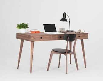 Mid century modern, walnut desk with three drawers