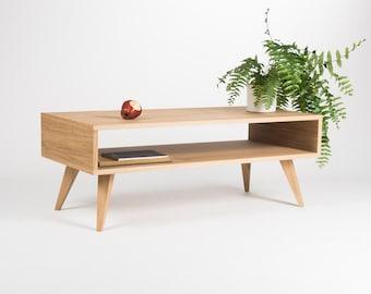 Mid century modern coffee table, box sofa table, made of oak wood