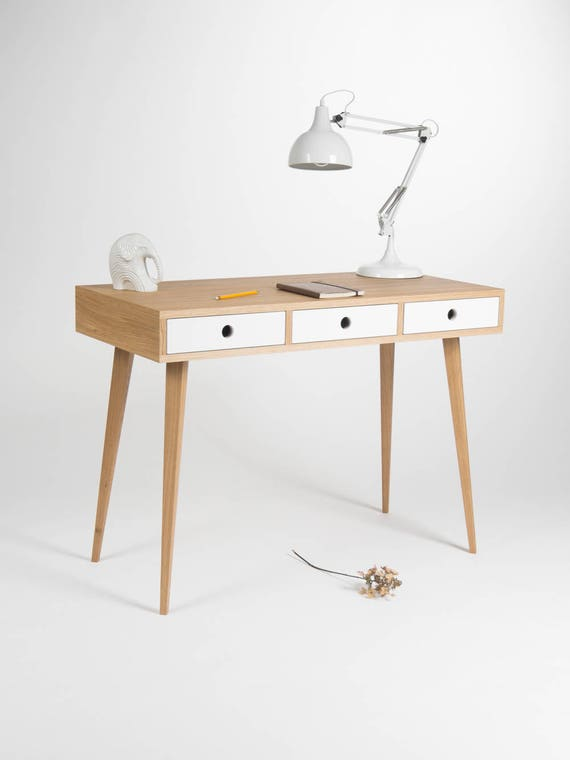 Home office desk, small dressing table, bureau, with white drawers, oak  wood, mid century modern, customized size and finish
