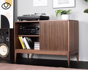TONN Walnut record player stand, vinyl record storage with sliding doors