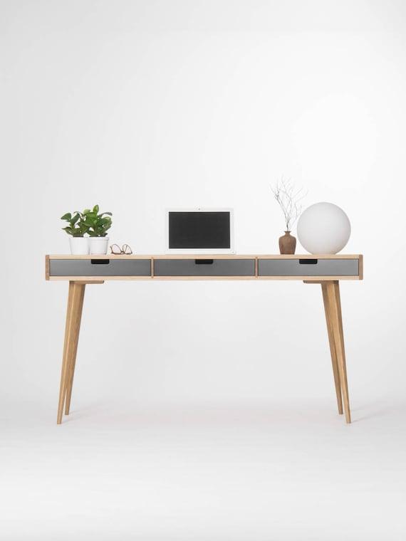 Computertisch Holz Schreibtisch Mit Schwarzen Schubladen | Etsy