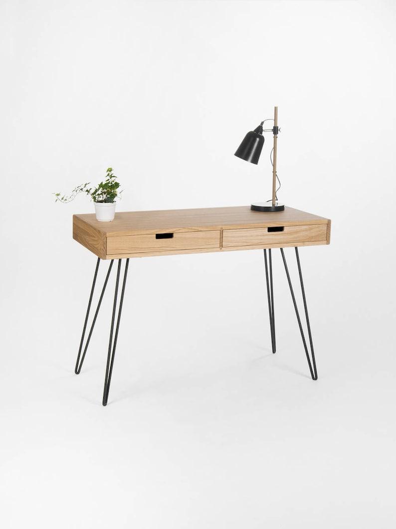 Minimalist Desk Dressing Table Bureau Small Computer Table Mid Century Modern Oak Wood Steel Metal Hairpin Legs