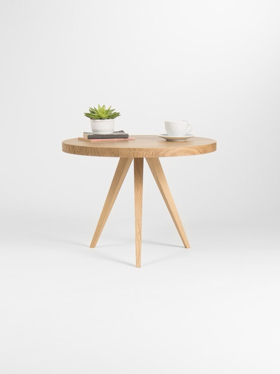Peachy Round Coffee Table Small End Table Accent Table Made Of Solid Oak Lamtechconsult Wood Chair Design Ideas Lamtechconsultcom