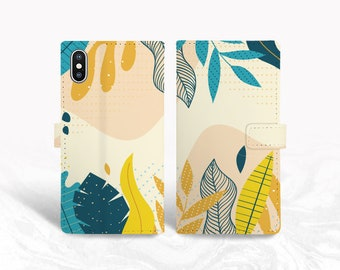 Colorful Leaves Pattern PU Leather Wallet Cover Flip Case for iPhone 11 Pro, iPhone 12, Samsung S20, Note 9, Google pixel 4, OnePlus 7 -P152