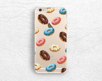 Cute Donuts transparent phone case for iPhone XR, LG G7, Nexus 5X, Samsung S10 plus, Note 10, OnePlus 7T, Google Pixel 3a XL, Pixel 4 -A30