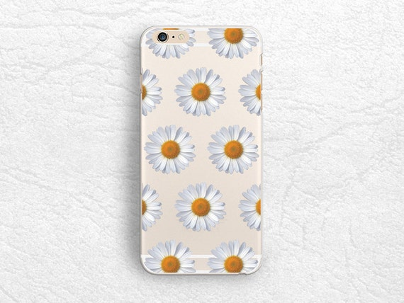 Daisy flower Clear transparent phone case for iPhone XR, iPhone X, Note 10, Google Pixel 2 XL, LG G7, Nexus 5X, Samsung S9 floral case P16