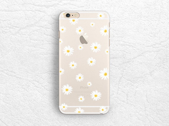 Cute Daisy flower Clear transparent phone case for iPhone 8 Plus, LG G7, LG V30, Huawei Mate 10, Samsung S8, S9 Plus, Note 9, Google Pixel 2