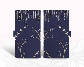 Navy Blue Vintage Floral PU Leather Wallet Cover Flip Case for iPhone 11, Samsung S10 Plus, note 10, Google pixel 3a, pixel 4 XL, OnePlus 6