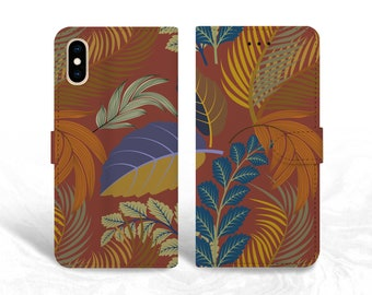 Colorful Leaves PU Leather Wallet Cover Flip Case for iPhone 13, Samsung S10e, S21 Plus, Note 10, Google Pixel 5a, LG G8, OnePlus 6T -P147